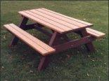 Click to enlarge image <b>TRADITIONAL PICNIC TABLE - <i><B><font size='-1'>Gather family & friends around this classic!</i></B>