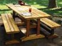 Click to enlarge image TRESTLE PICNIC TABLE & BENCHES - <i><b><font size='-1'>Dine al fresco in style!</i></b>